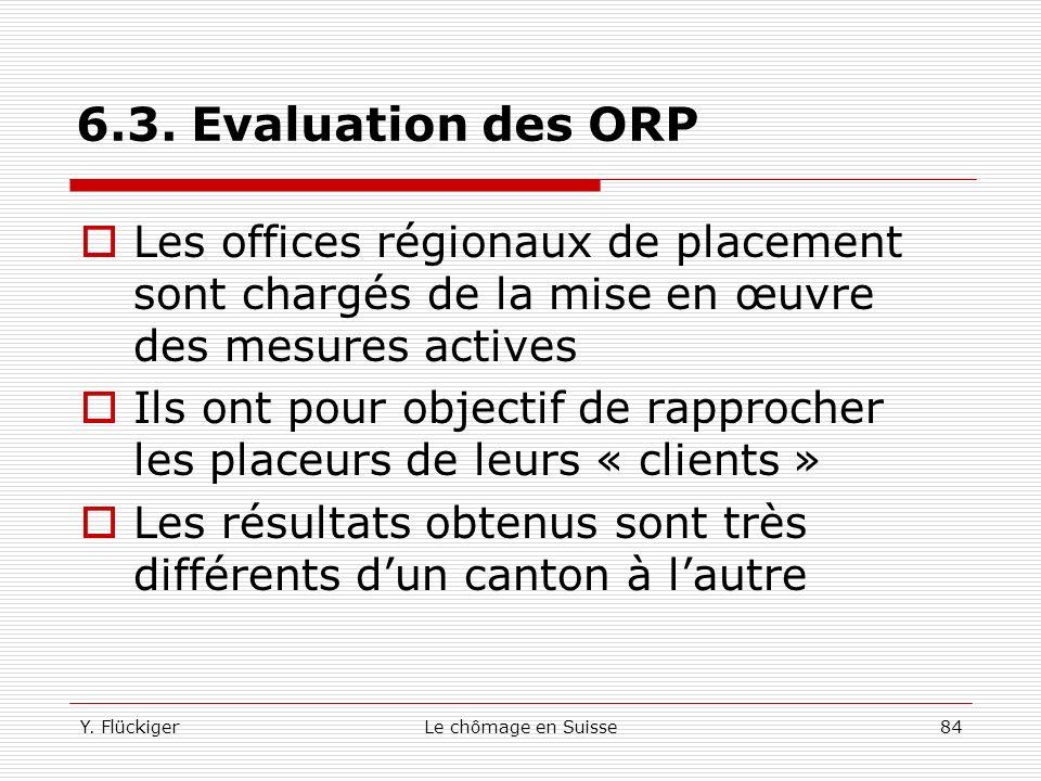 6.3. Evaluation des ORP Les offices régionaux de placement sont chargés de la mise en œuvre des mesures actives.