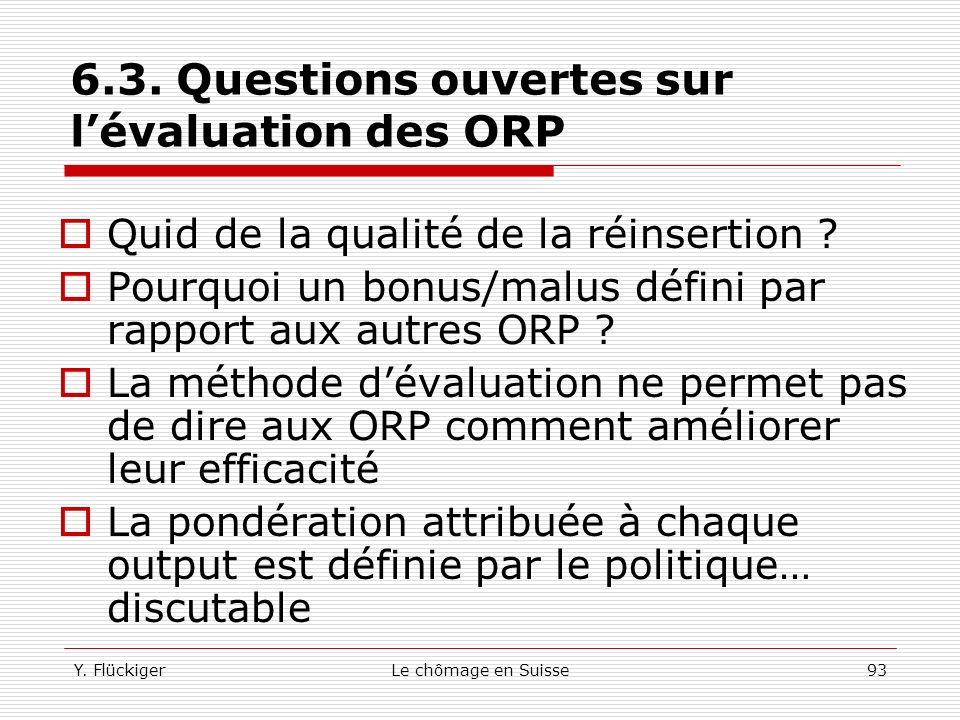 6.3. Questions ouvertes sur l'évaluation des ORP