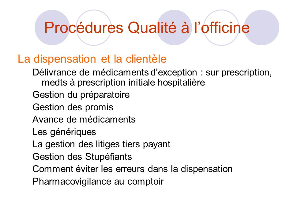 Procédures Qualité à l'officine