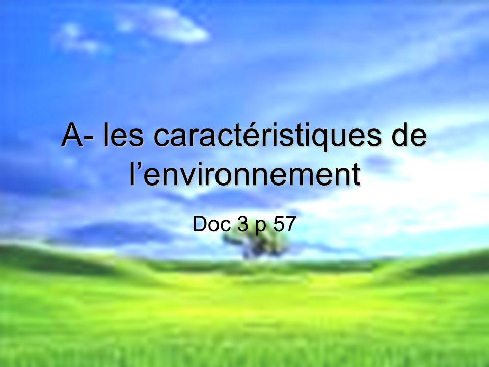 A- les caractéristiques de l'environnement
