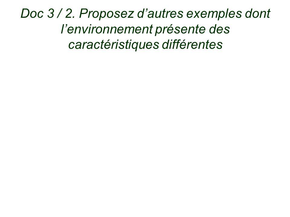 Doc 3 / 2. Proposez d'autres exemples dont l'environnement présente des caractéristiques différentes