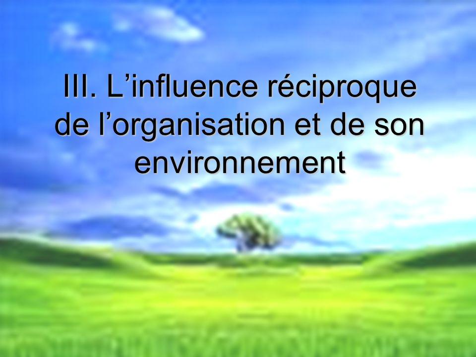 III. L'influence réciproque de l'organisation et de son environnement