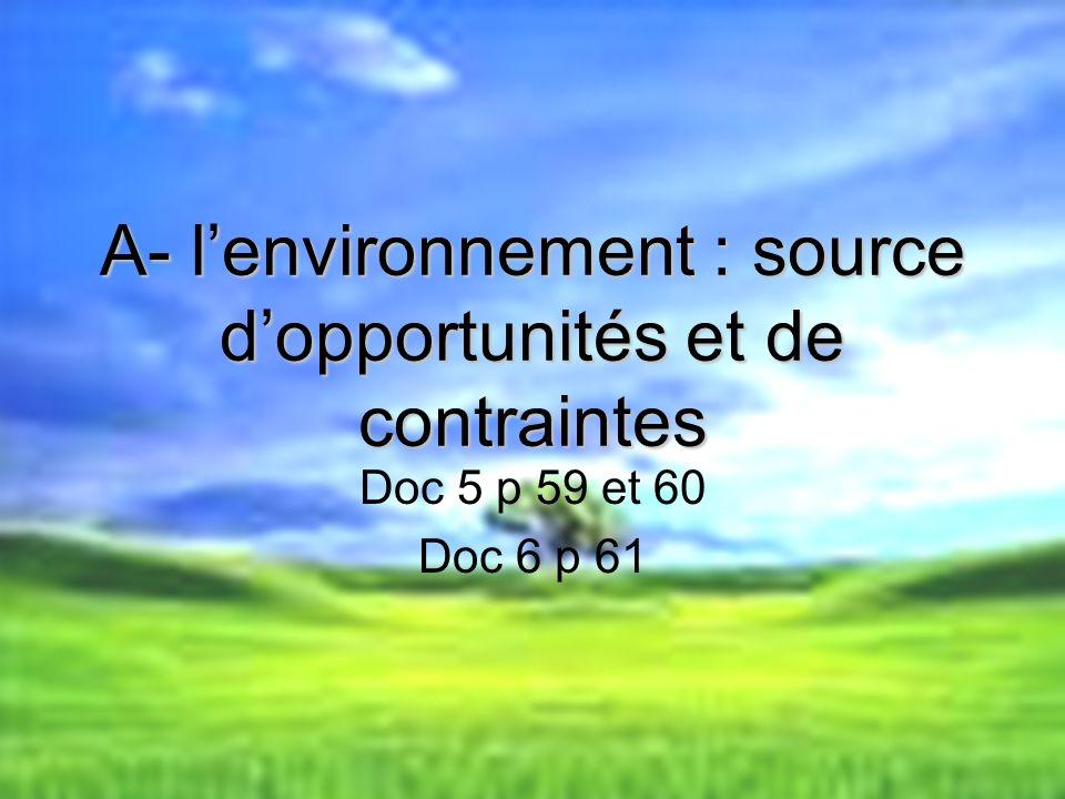 A- l'environnement : source d'opportunités et de contraintes