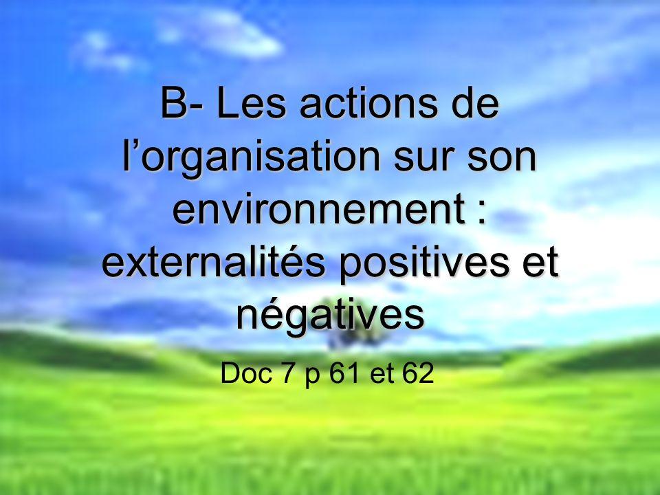 B- Les actions de l'organisation sur son environnement : externalités positives et négatives