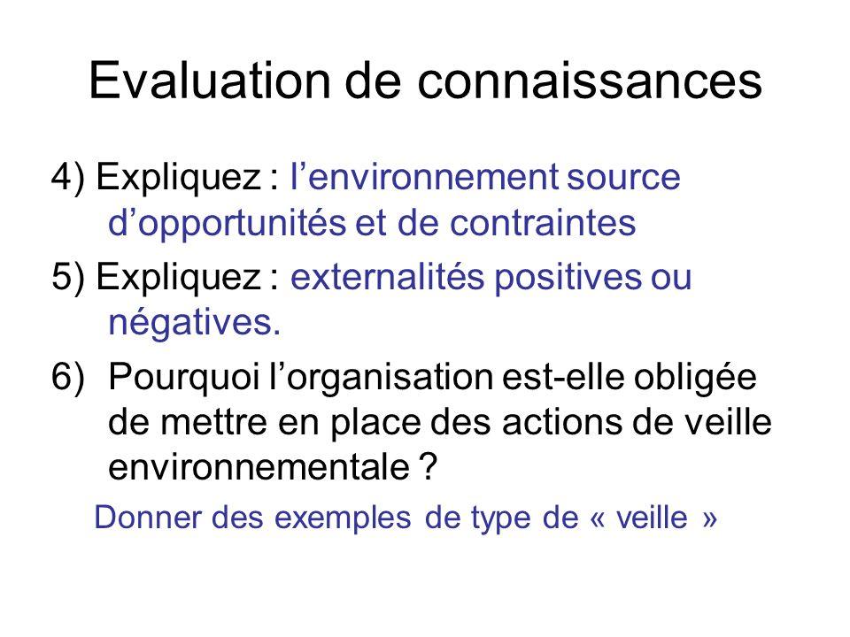 Evaluation de connaissances