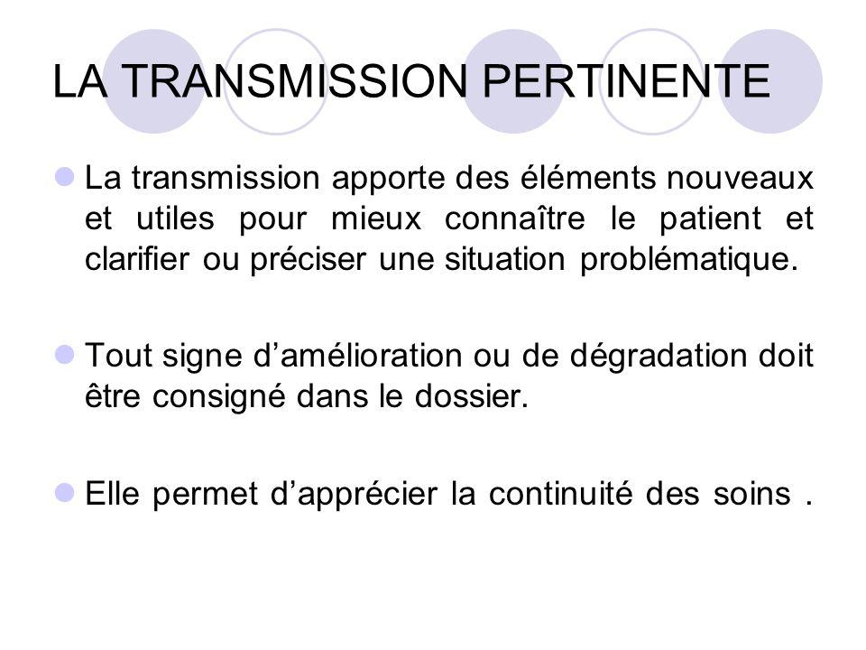 LA TRANSMISSION PERTINENTE