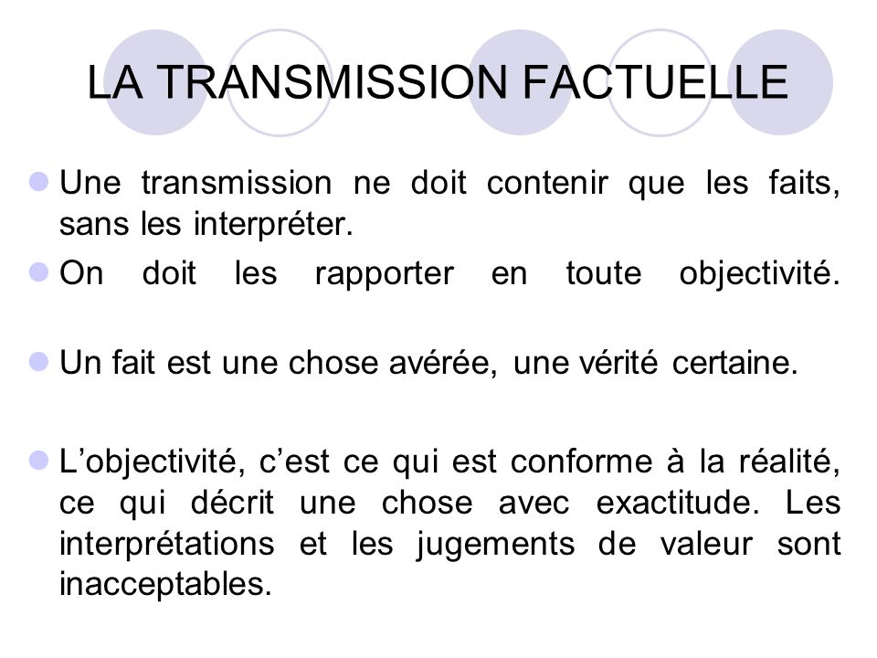 LA TRANSMISSION FACTUELLE