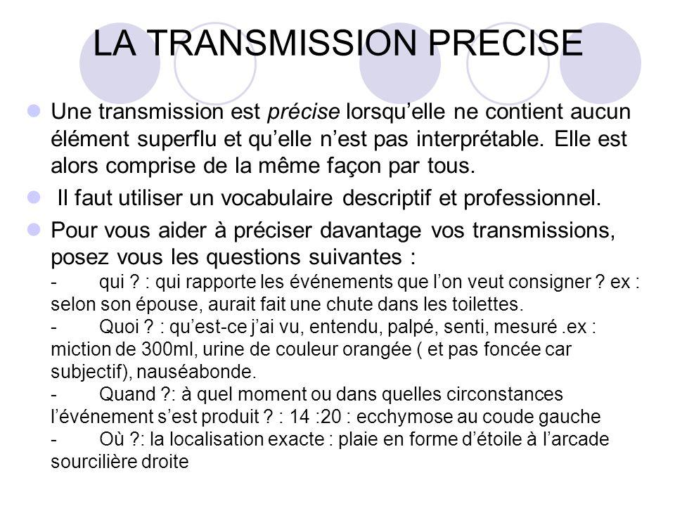 LA TRANSMISSION PRECISE
