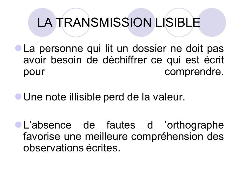 LA TRANSMISSION LISIBLE