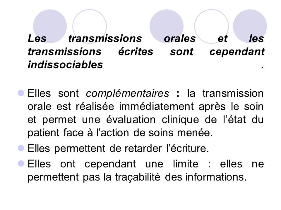 Les transmissions orales et les transmissions écrites sont cependant indissociables .