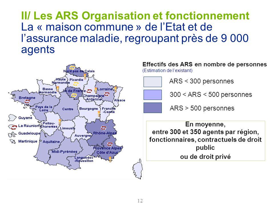 II/ Les ARS Organisation et fonctionnement La « maison commune » de l'Etat et de l'assurance maladie, regroupant près de 9 000 agents