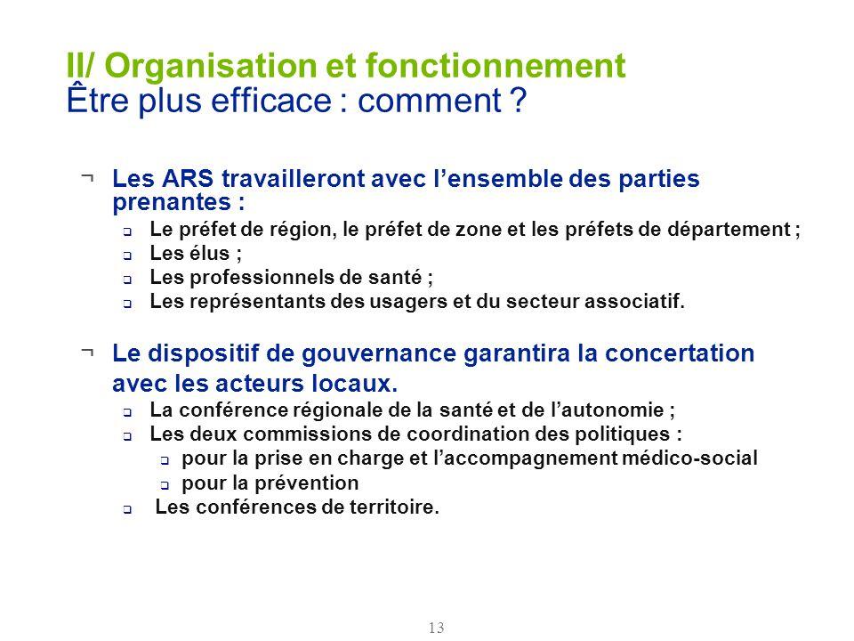 II/ Organisation et fonctionnement Être plus efficace : comment