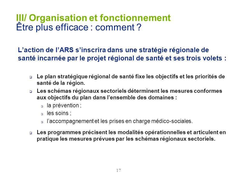 III/ Organisation et fonctionnement Être plus efficace : comment