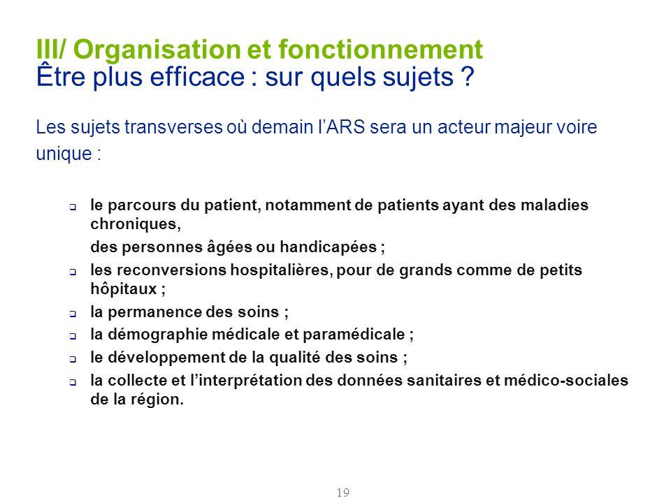 III/ Organisation et fonctionnement Être plus efficace : sur quels sujets
