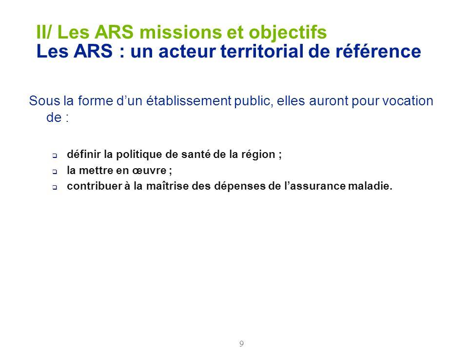II/ Les ARS missions et objectifs Les ARS : un acteur territorial de référence