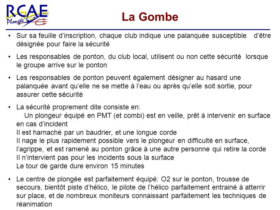 La Gombe Sur sa feuille d'inscription, chaque club indique une palanquée susceptible d'être désignée pour faire la sécurité.