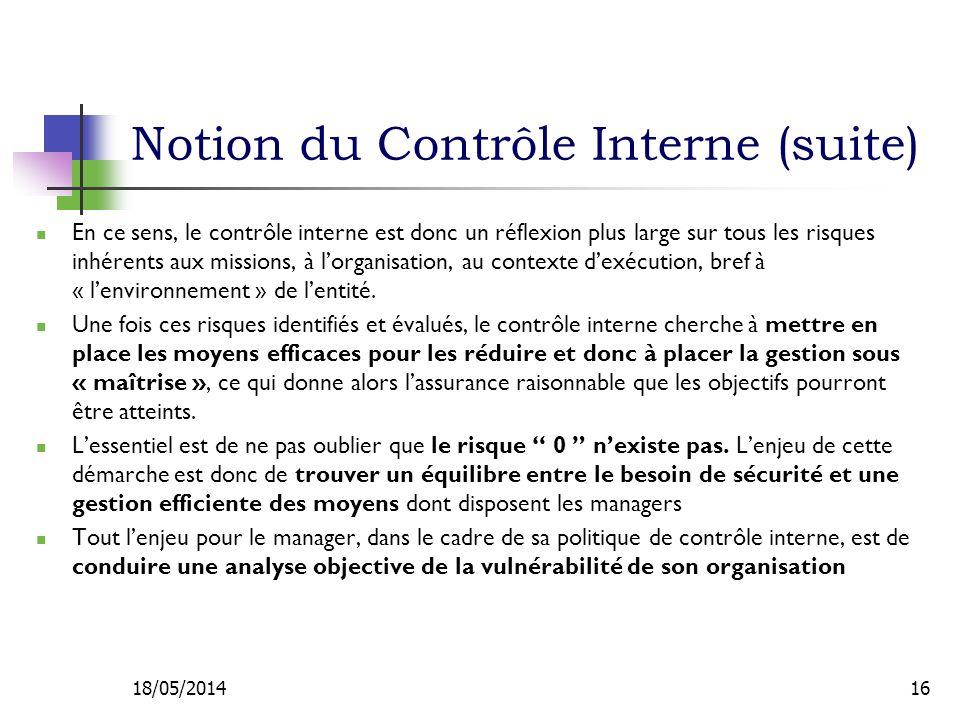 Notion du Contrôle Interne (suite)
