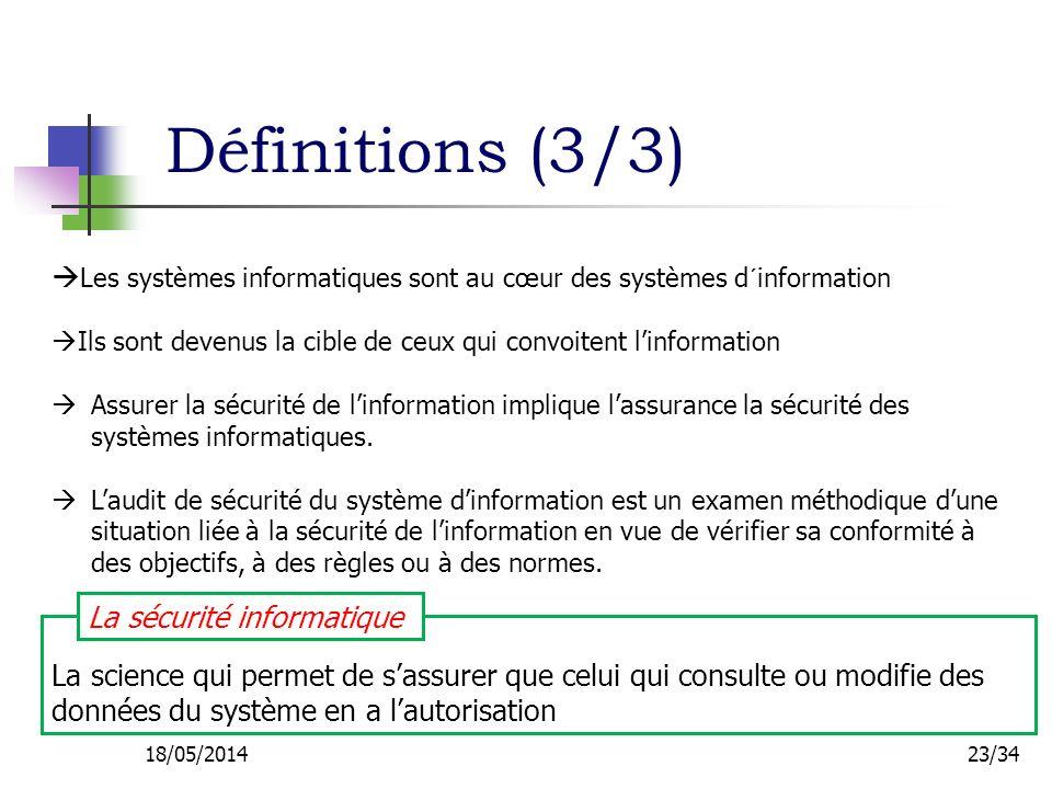 Définitions (3/3) Les systèmes informatiques sont au cœur des systèmes d´information.