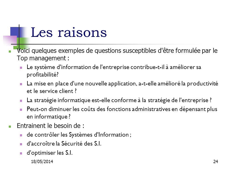 Les raisons Voici quelques exemples de questions susceptibles d être formulée par le Top management :