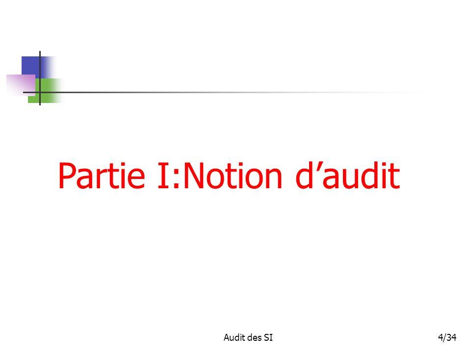 Partie I:Notion d'audit