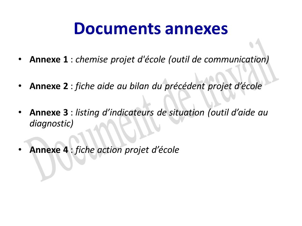 Documents annexes Document de travail