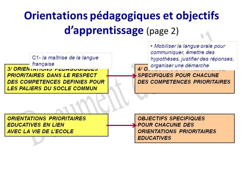 Orientations pédagogiques et objectifs d'apprentissage (page 2)