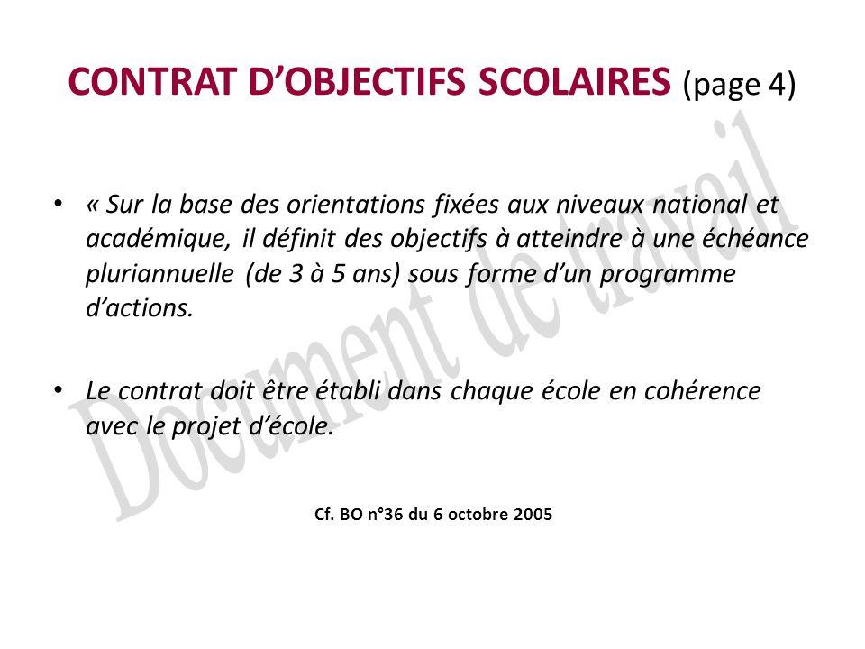 CONTRAT D'OBJECTIFS SCOLAIRES (page 4)
