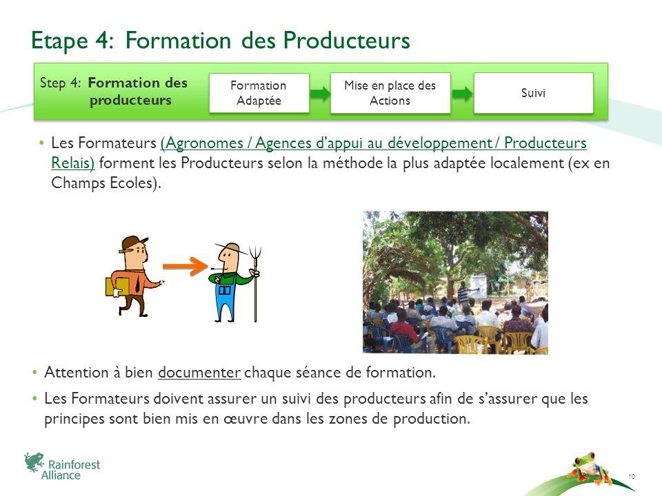 Etape 4: Formation des Producteurs