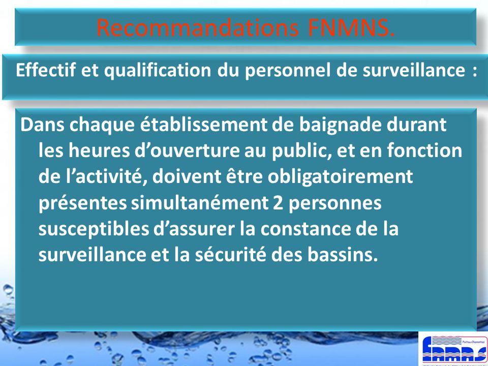 Effectif et qualification du personnel de surveillance :