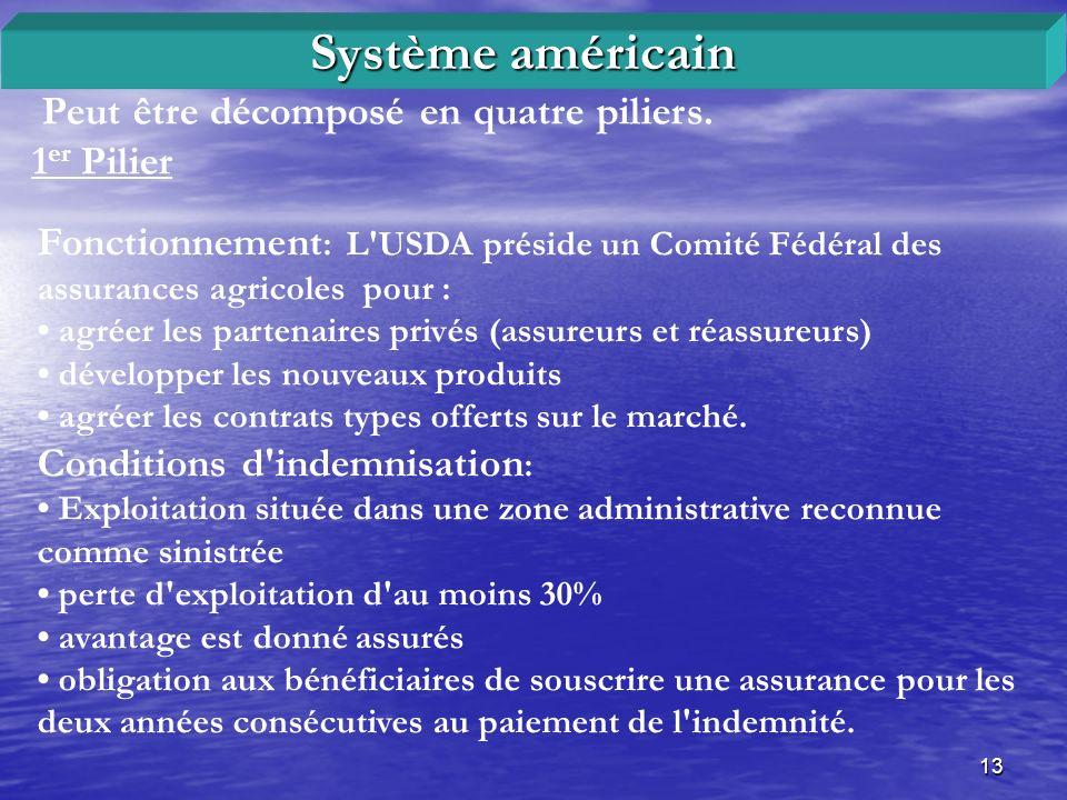 Système américain Peut être décomposé en quatre piliers. 1er Pilier