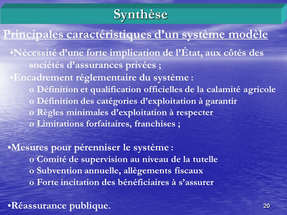 Synthèse Principales caractéristiques d'un système modèle