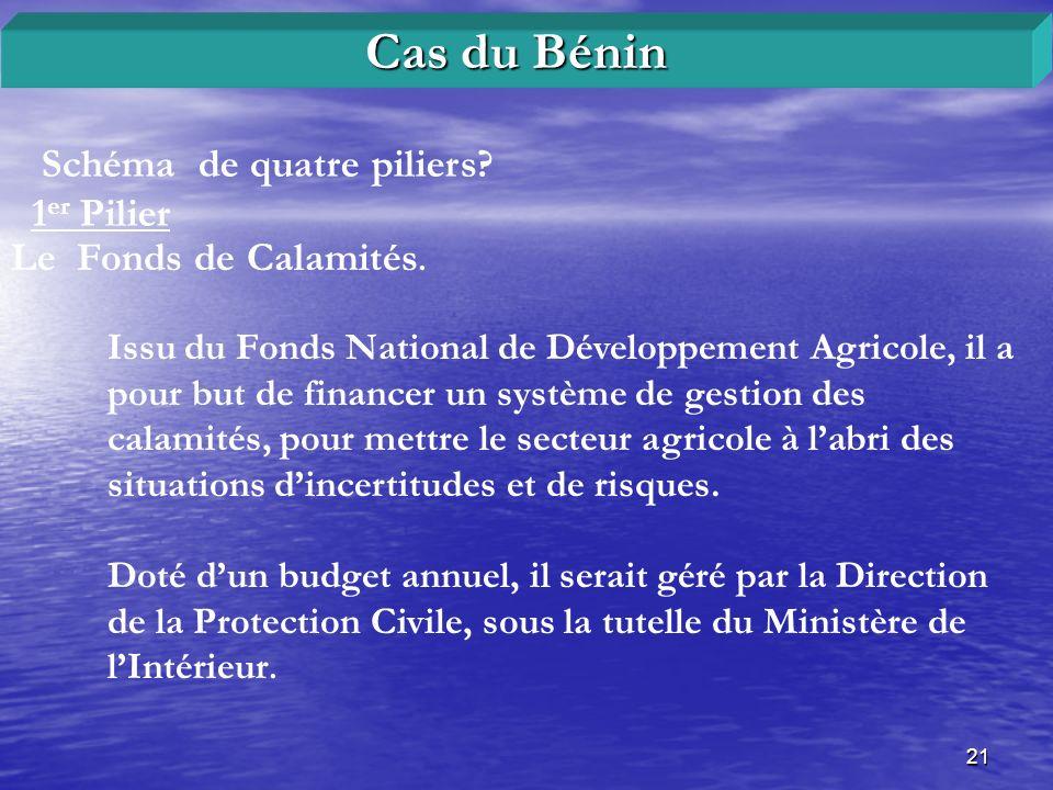 Cas du Bénin Schéma de quatre piliers 1er Pilier