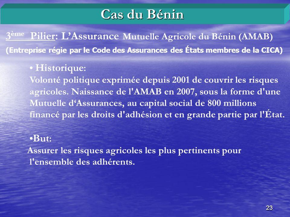 Cas du Bénin 3ème Pilier: L'Assurance Mutuelle Agricole du Bénin (AMAB) (Entreprise régie par le Code des Assurances des États membres de la CICA)