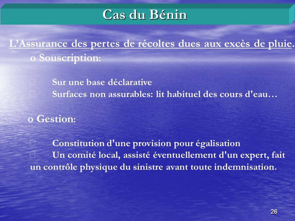 Cas du Bénin L'Assurance des pertes de récoltes dues aux excès de pluie. o Souscription: