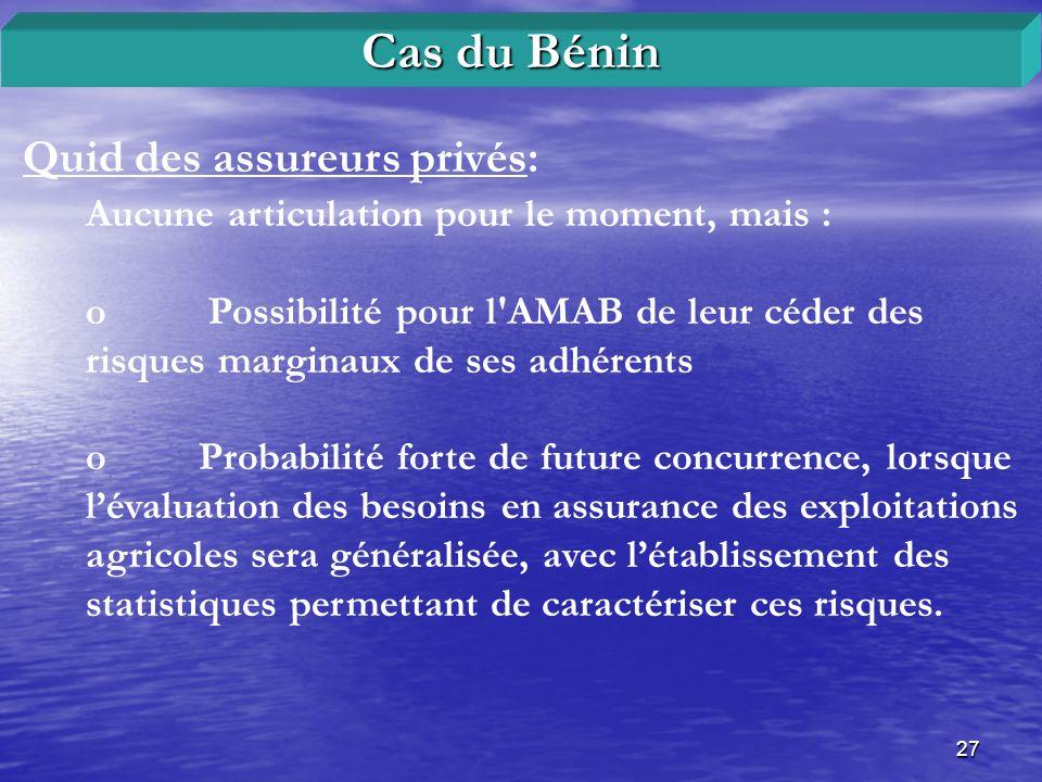 Cas du Bénin Quid des assureurs privés: