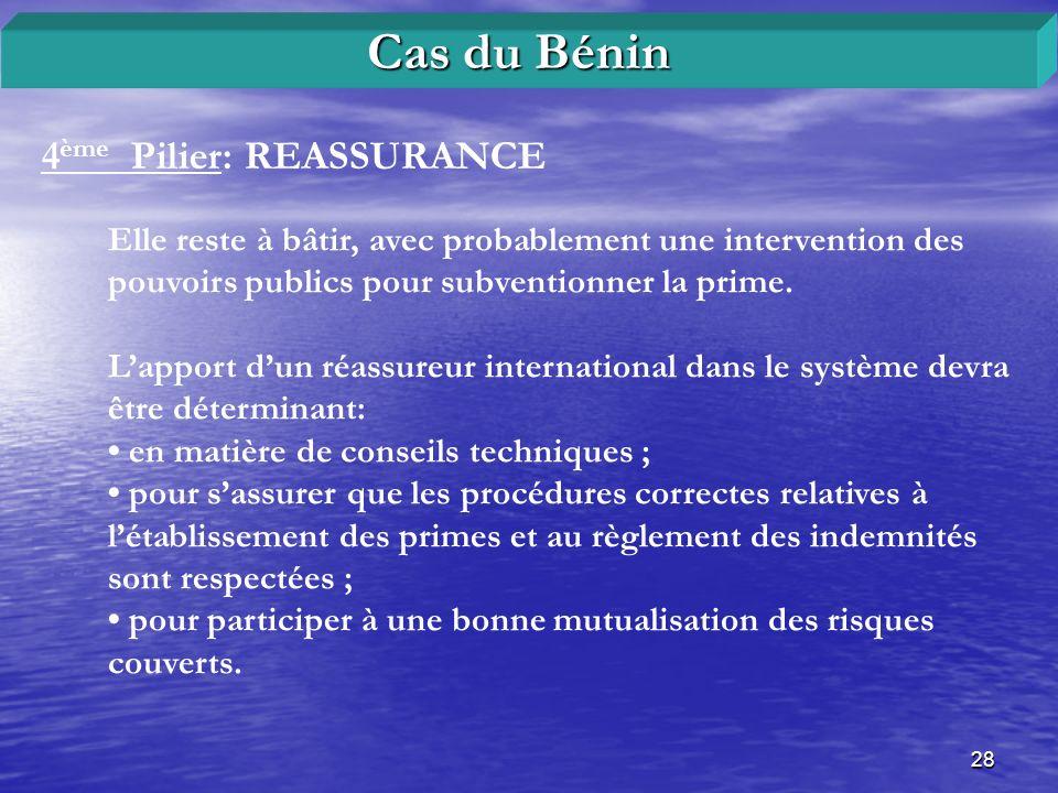 Cas du Bénin 4ème Pilier: REASSURANCE