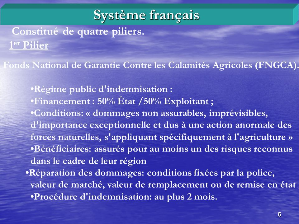 Système français Constitué de quatre piliers. 1er Pilier