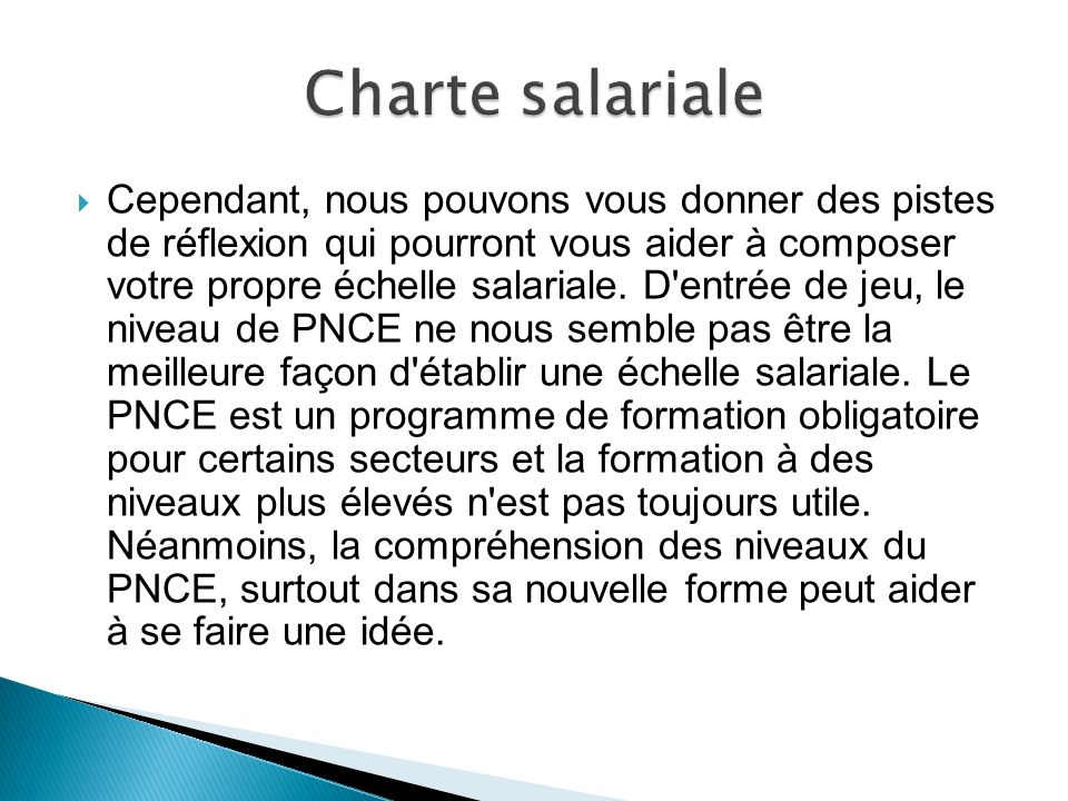 Charte salariale