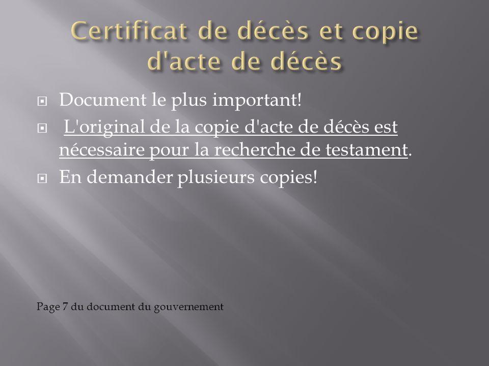 Certificat de décès et copie d acte de décès