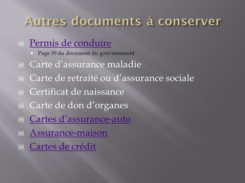 Autres documents à conserver