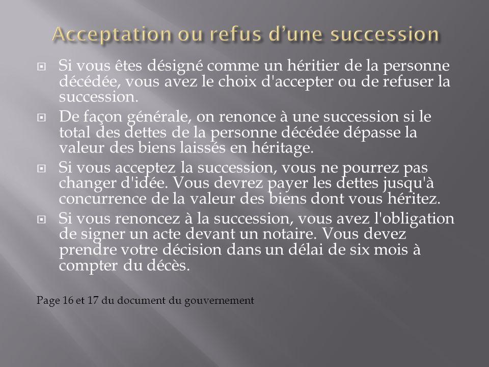 Acceptation ou refus d'une succession