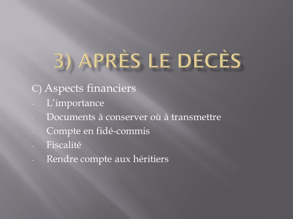 3) Après le décès C) Aspects financiers L'importance