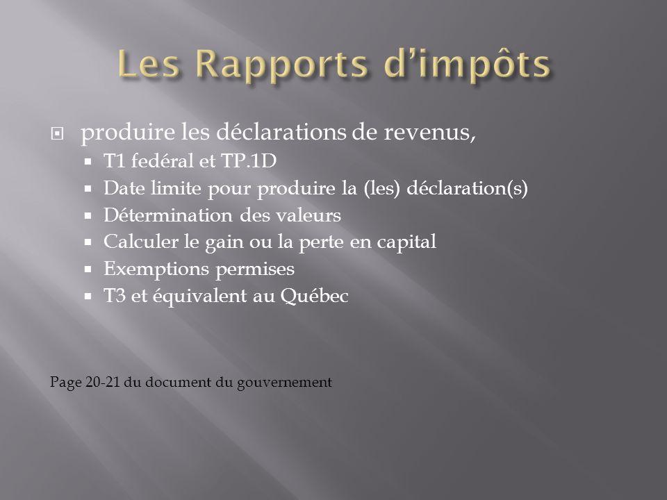 Les Rapports d'impôts produire les déclarations de revenus,