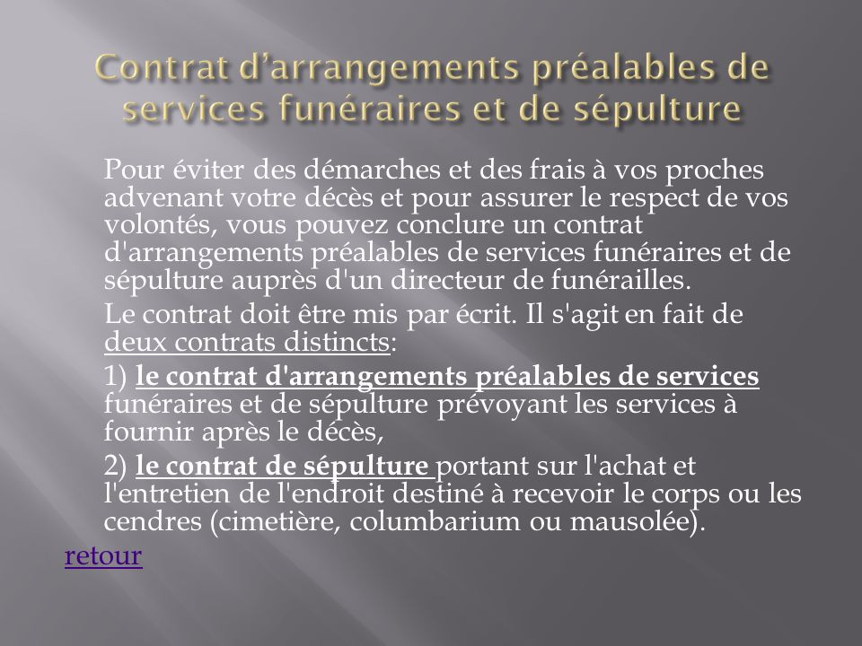 Contrat d'arrangements préalables de services funéraires et de sépulture