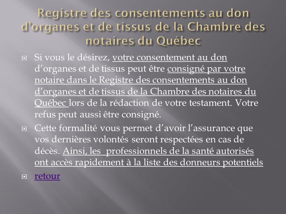 Registre des consentements au don d'organes et de tissus de la Chambre des notaires du Québec