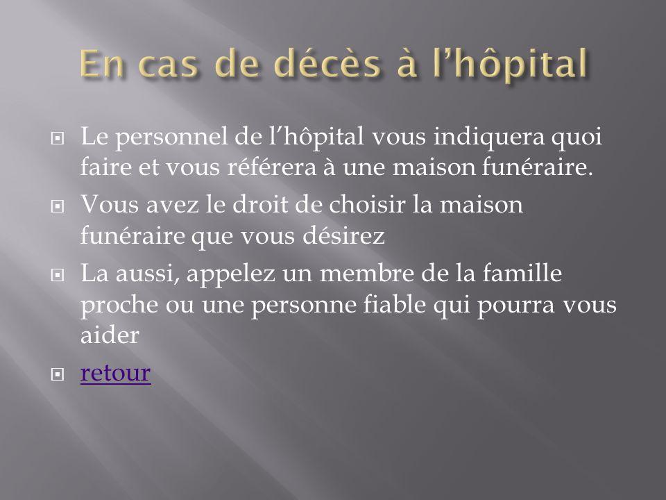 En cas de décès à l'hôpital