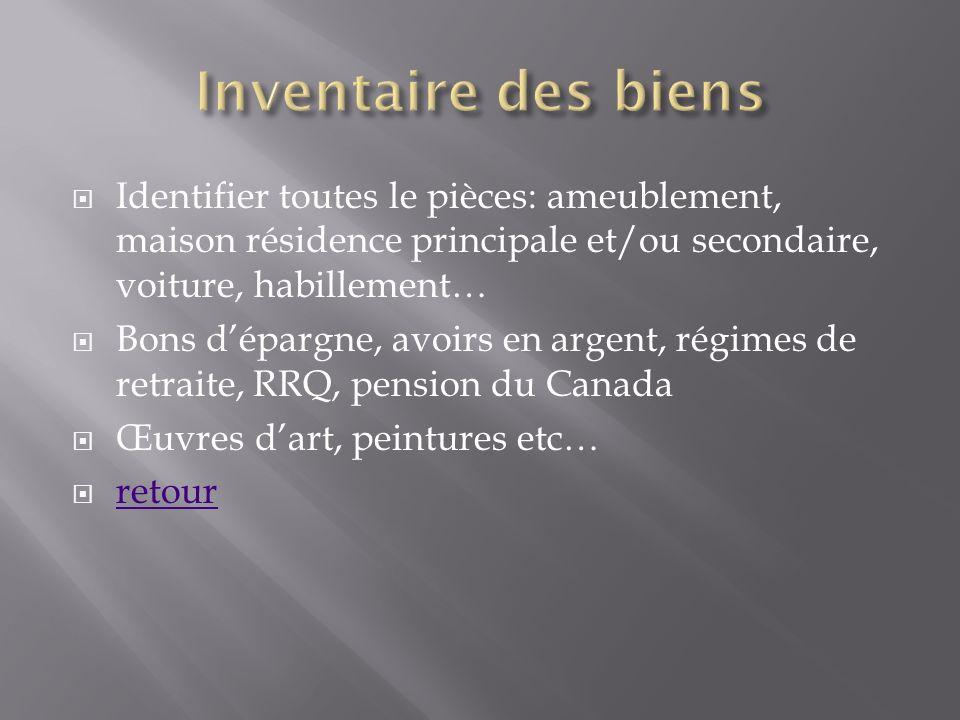 Inventaire des biens Identifier toutes le pièces: ameublement, maison résidence principale et/ou secondaire, voiture, habillement…