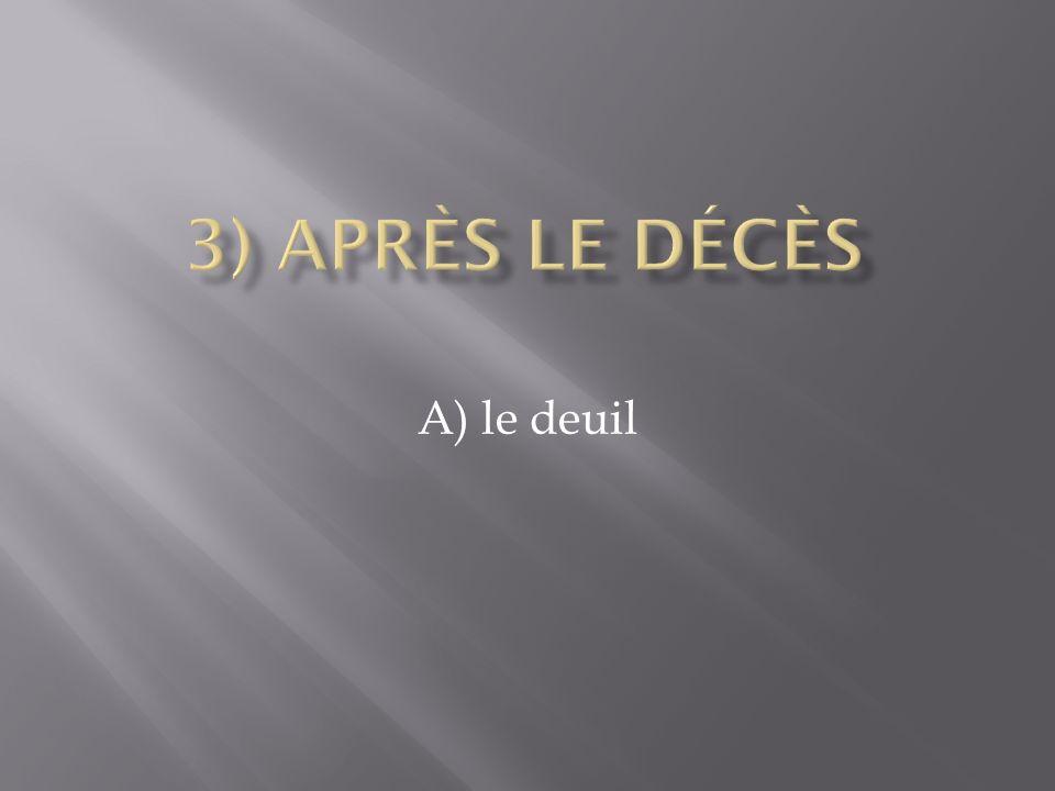 3) Après le décès A) le deuil