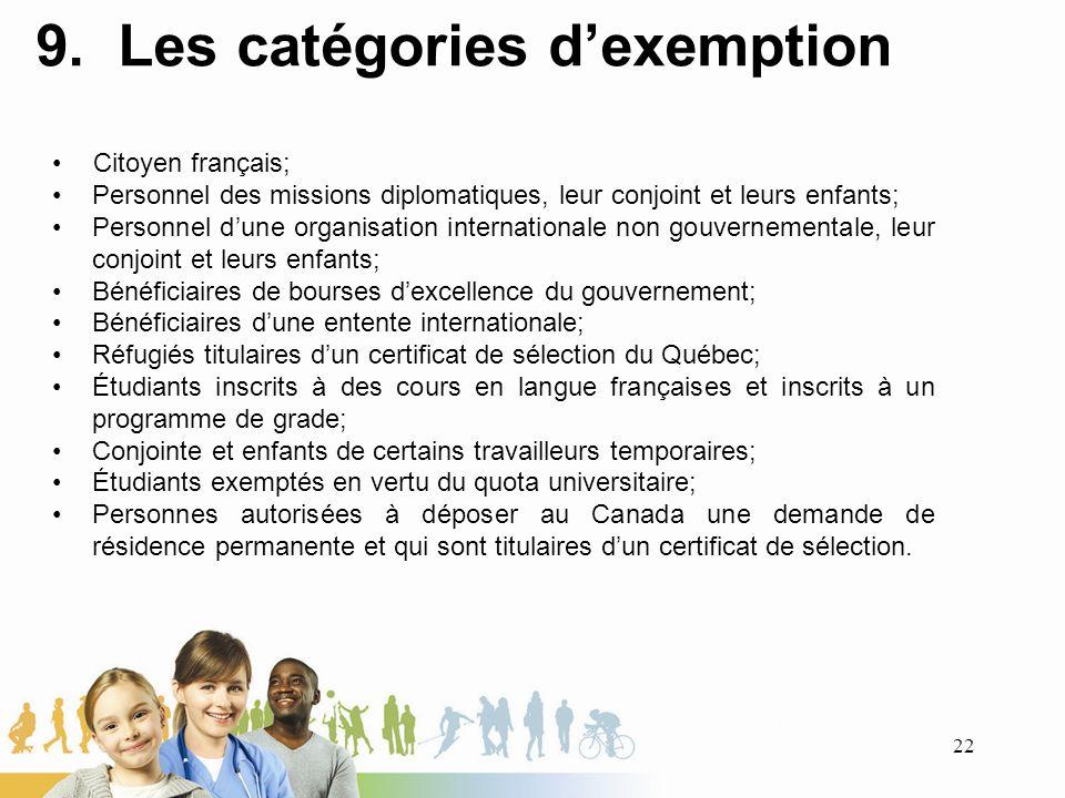 9. Les catégories d'exemption