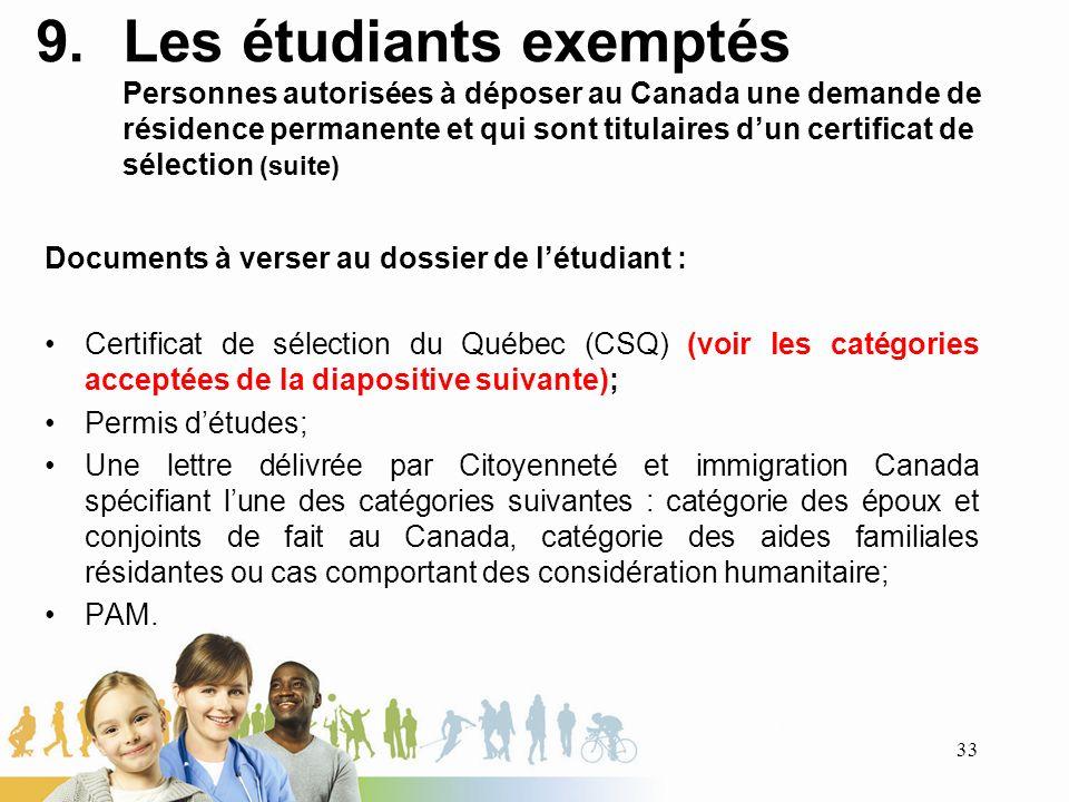 Les étudiants exemptés Personnes autorisées à déposer au Canada une demande de résidence permanente et qui sont titulaires d'un certificat de sélection (suite)